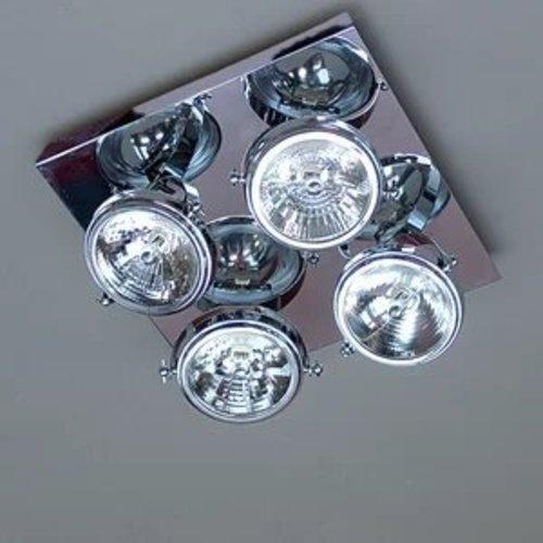 Plafondlamp landelijk 4 spots vierkant brons, nikkel, chroom