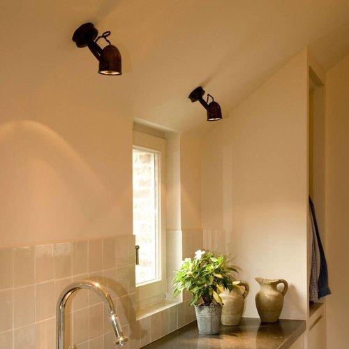 Rustieke plafondlamp brons, nikkel, chroom ronde support