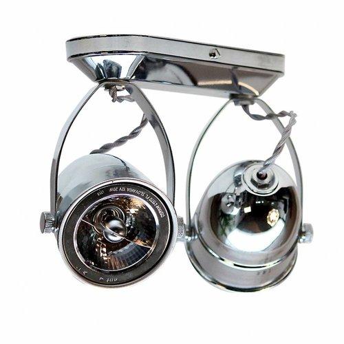 Plafondlamp met spots landelijk brons, nikkel, chroom