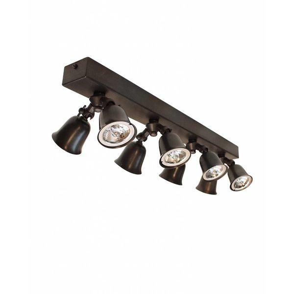 Plafondlamp gang landelijk 8 spots brons, nikkel, chroom