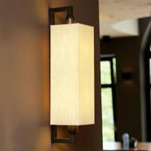 Wandlamp stoffen kap landelijk brons, nikkel, chroom