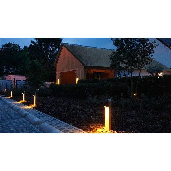 Tuinpaal verlichting landelijk hout brons GU10