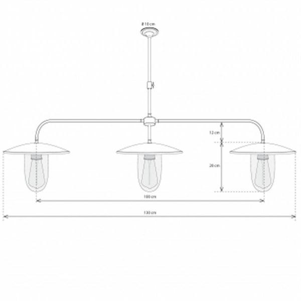 Hanglamp 3 lampen landelijk brons boven eettafel