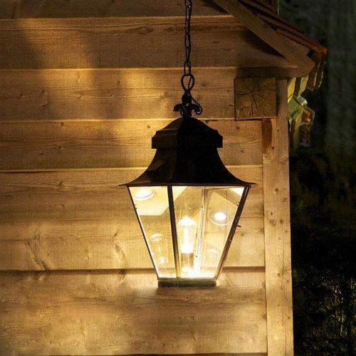 Lantaarn hanglamp buiten landelijk brons, nikkel 1xE27+GU10 60cm H