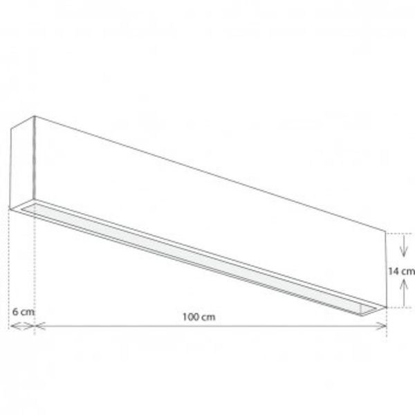 Wandlamp strak design LED brons 60 of 100 cm up down