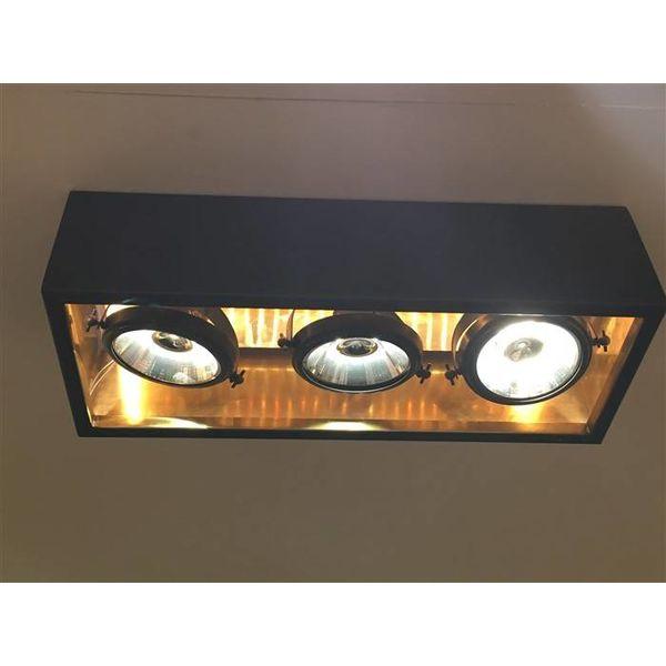 Lamp 3 spots landelijk brons, nikkel, chroom, rechthoekig