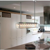 Landelijke hanglamp eettafel 1 m lang brons, nikkel, chroom