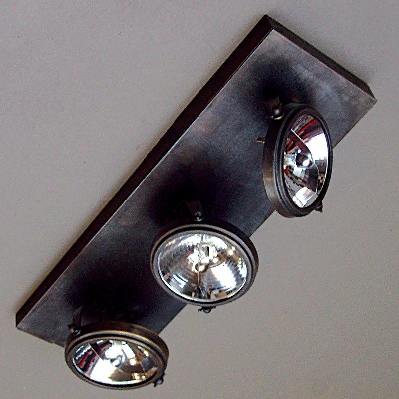 Landelijke plafondlamp met 3 spots