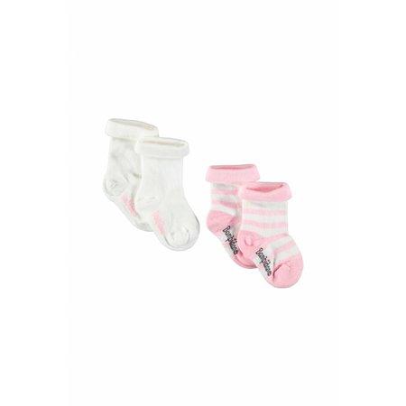 Bampidano Bampidano sokjes wit en gestreept roze