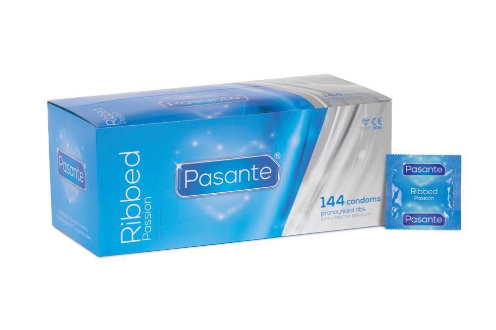 Pasante Ribbed Passion Geribbelde Condooms 144 stuks (grootverpakking)