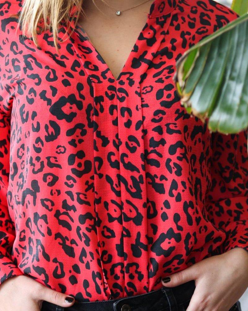 Blouse Leopard Rood