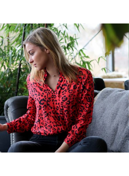 Blouse Leopard Rood