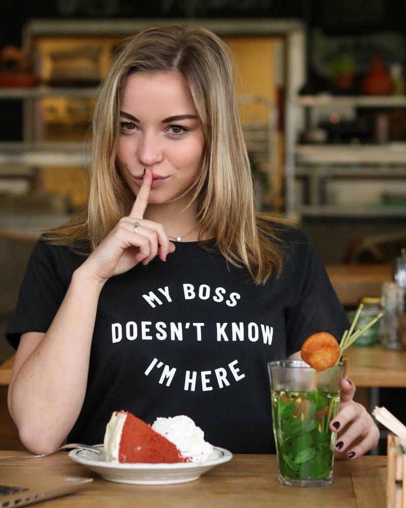 Zwart - T-shirt My boss..