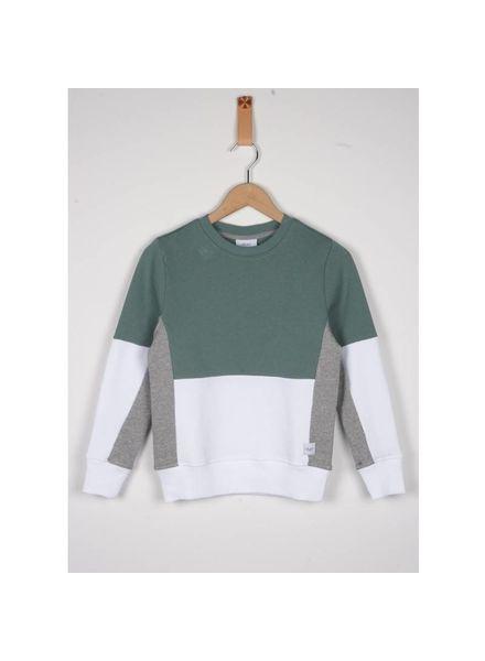 Grunt Sweater Est Dusty/Green/White Katoen Elastan