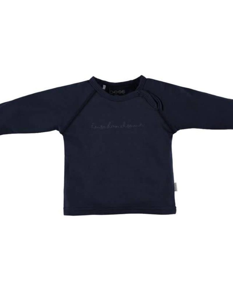 b.e.s.s. Bess longsleeve Boy I'm so Handsome blue Katoen