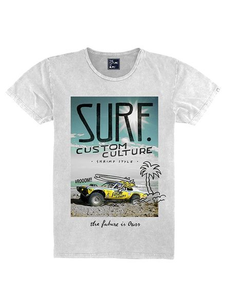 The future is ours T-shirt Surfcar TFO6027 white Katoen