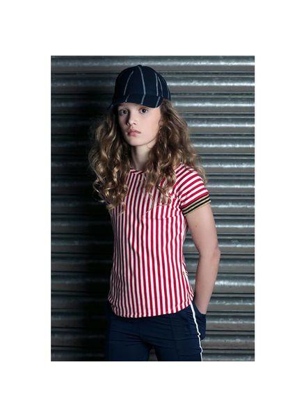 Lola Meis T-shirt  SS17-Tsh-06 Red/ Off-White Katoen