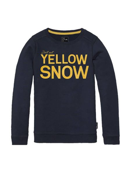 The future is ours Sweater Yellow Snow Navy Katoen