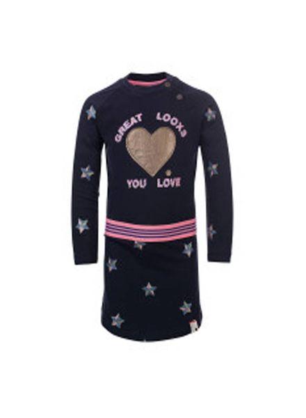 Looxs Revolution Toddlers tricot jurk 707-7800 navy Katoen Elastan