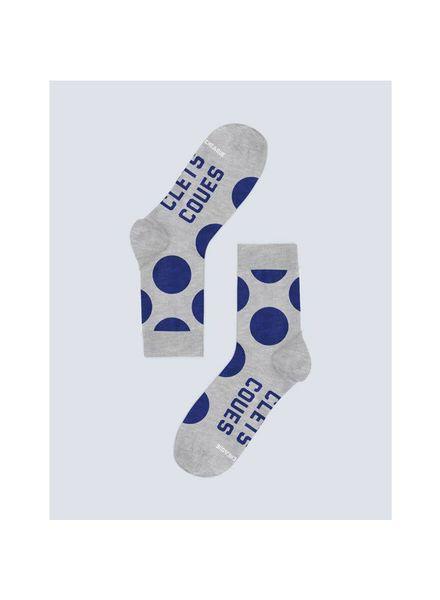 Cheaque Socks Clets Coues Grey/Navy Dots Katoen