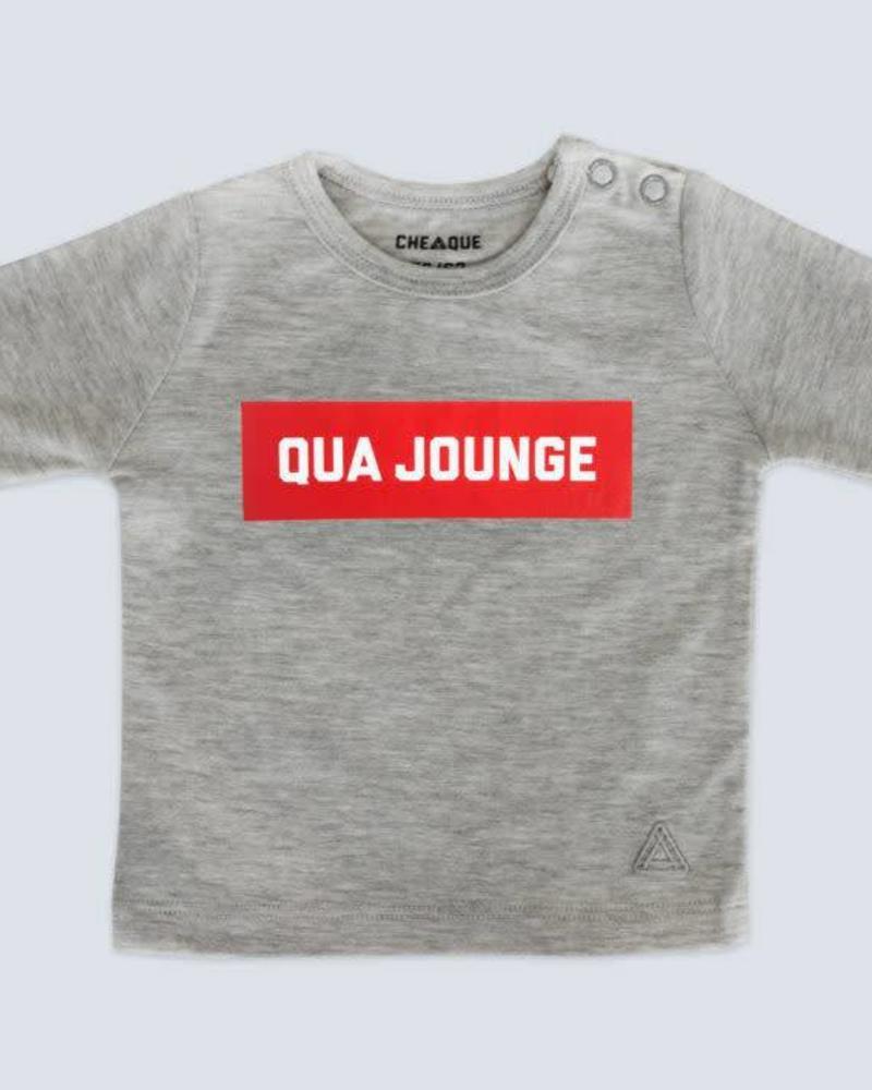 Cheaque  longlseeve  Qua Jonge Grey Katoen