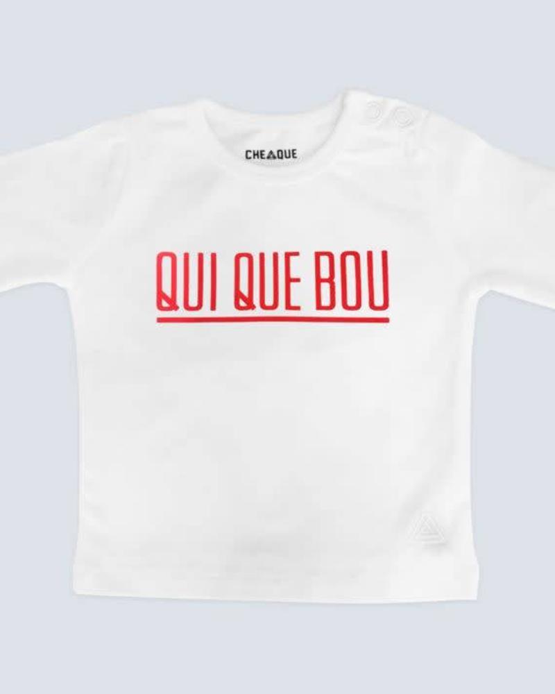 Cheaque  longlseeve  Qui Que Bou White Katoen