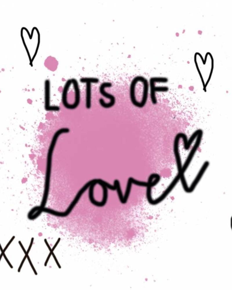 Dwarz wenskaart Lots of Love