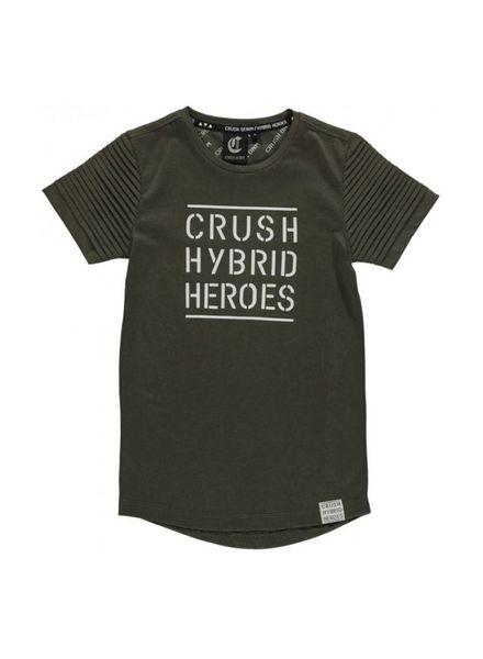 Crush Denim T-shirt Logo Sleeve Tee Green Katoen