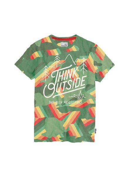 T-shirt Think Outside Green Katoen
