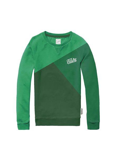 Sweater Colour Block-S Green Katoen