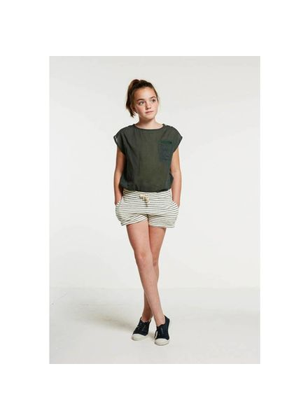 By Bar Peppe Short Dark Green/Off White Katoen