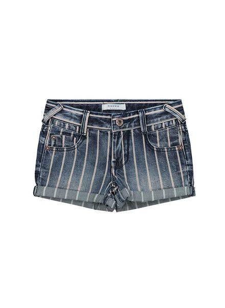 Nik & Nik by Nikkie Femke Denim Shorts Blue Stripe Katoen