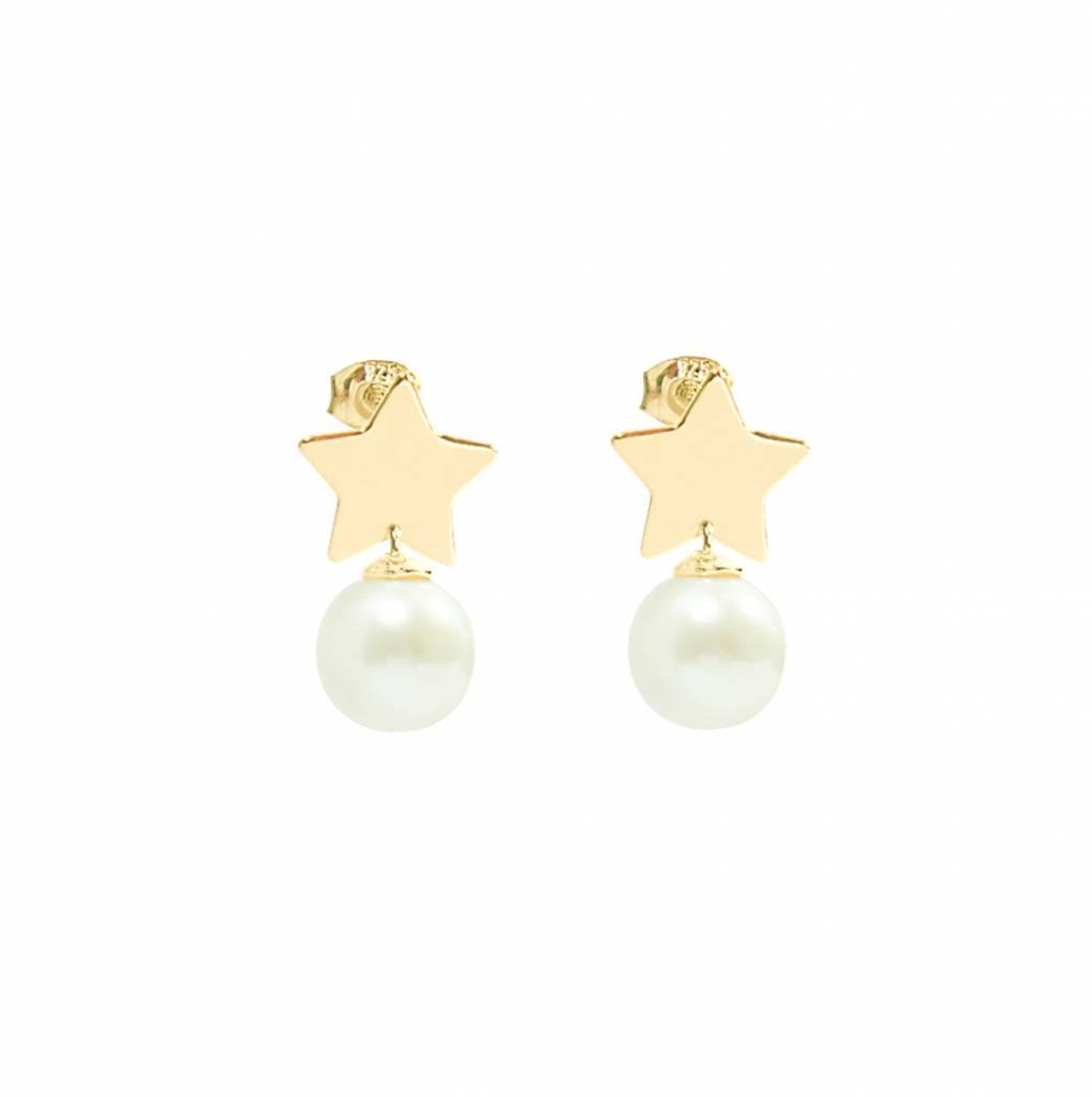 14 Carat Golden Stud Earrings With Star And Pearl Of The Jewelry Lab