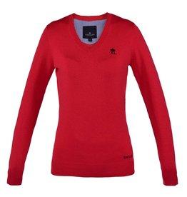 Kingsland Knitted Kingsland V-Neck Red Hibiscus