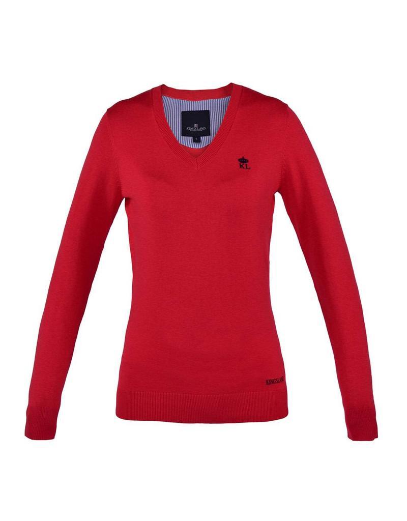 Kingsland Knitted Kiawah Kingsland V-Neck Red Hibiscus