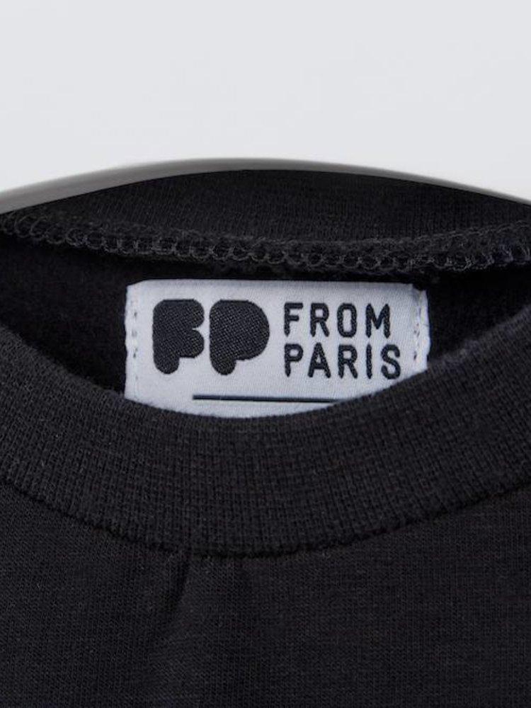 From Paris UNISEX SWEATSHIRT 'PERFECTLY IMPERFECT' × BLACK / WHITE