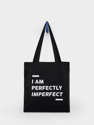 From Paris TOTEBAG 'I AM PERFECTLY IMPERFECT' × BLACK / WHITE
