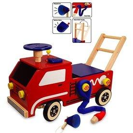 I'm Toy  I'm Toy houten loop/duwwagen Brandweer