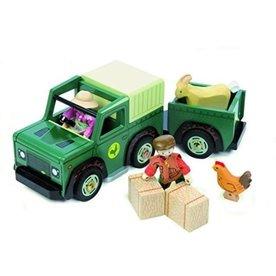 Houten Jeep met Trailer, Le Toy Van