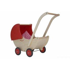 Van Dijk Toys Houten Poppenwagen Rood  Van Dijk Toys