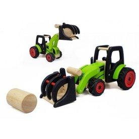 Pintoy Houten tractor met hooibaal