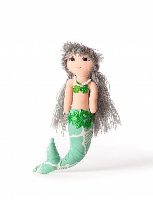 Duduk pop  zeemeermin duduk grijs haar groen lijf