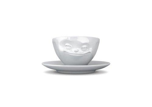 Tassen Tassen - kop en schotel - grijnzend