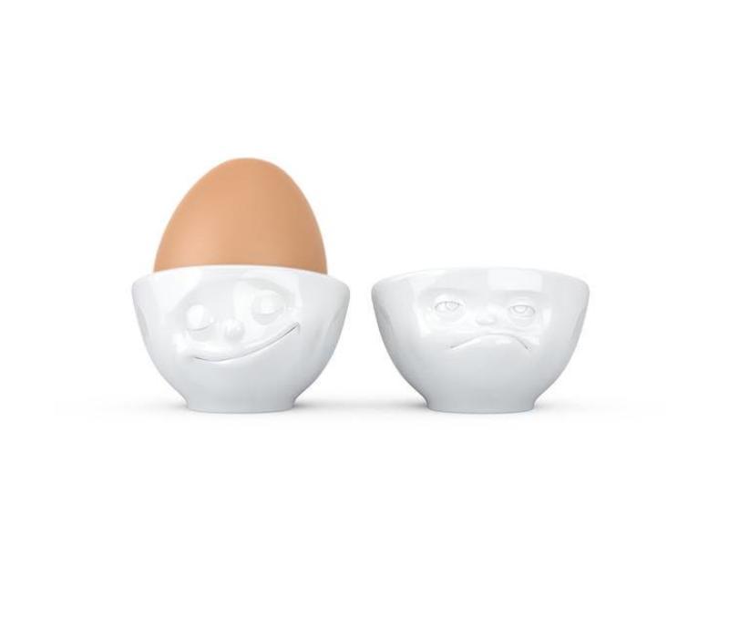 Tassen - eierdopjes - gelukkig & boos