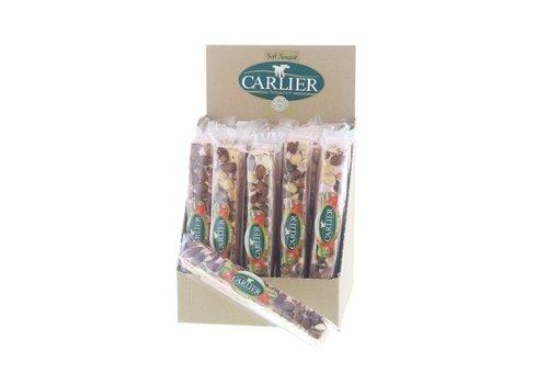 Carlier display nougat reep aardbei 100g 25st