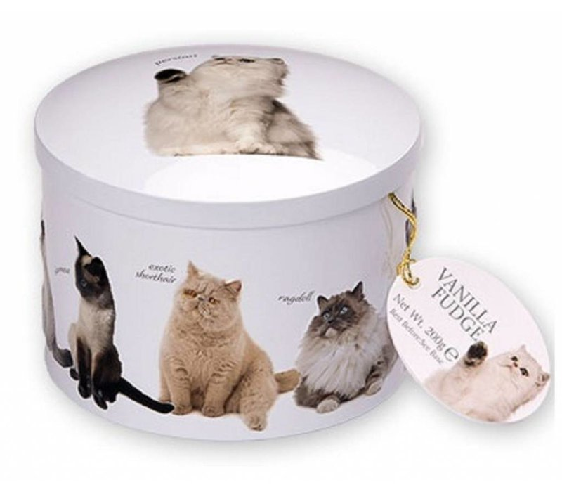 Cat round tin fudge 200g 12st