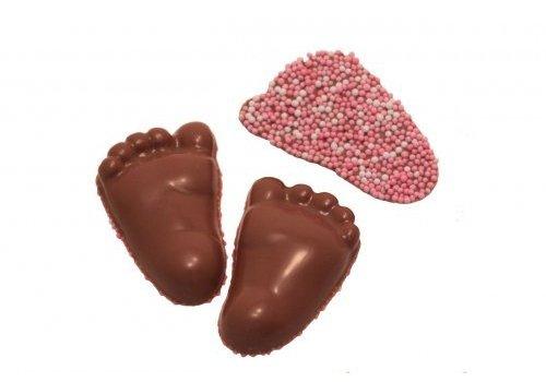 Baby voetjes choc. rose 8g 2,5kg