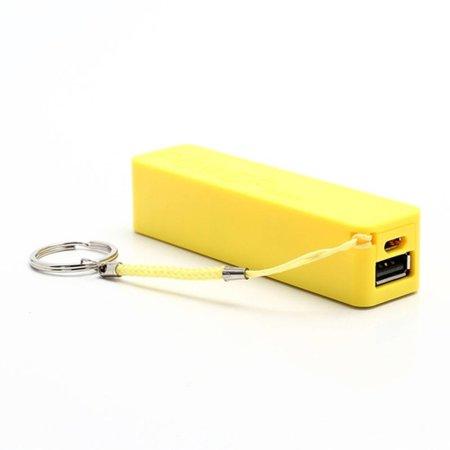 Compacte powerbank 2600 mAh met sleutelhanger - Geel