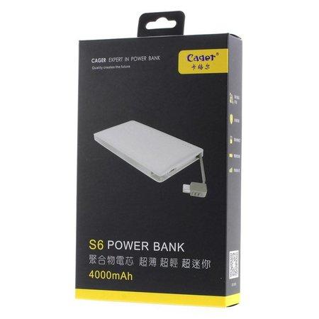 Cager CAGER Ultraslim 4000 mAh 1.5A Powerbank - Zwart
