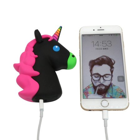 Unicorn Emoji Powerbank 3600 mAh - Zwart / Roze